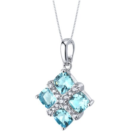 2.5 ct Cushion Cut Swiss Blue Topaz Pendant Necklace in Sterling Silver, 18
