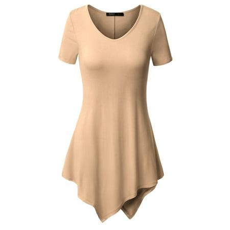Thanth Womens Short Sleeve V-neck Handkerchief Hem Long Tunic Top