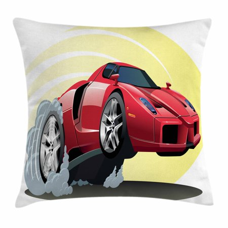 Cars Throw Pillow Cushion Cover, Powerful Cartoon Red Car Speeding Jumping with Smoke Coming Out Of Giant Tires, Decorative Square Accent Pillow Case, 16 X 16 Inches, Red Yellow Gray, by