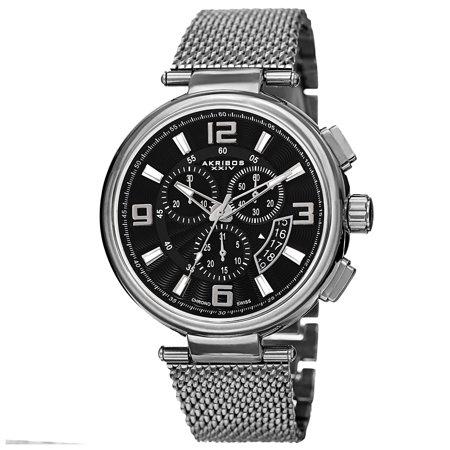Akribos XXIV  Men's Swiss Quartz Chronograph Stainless Steel Mesh Silver-Tone Bracelet Watch