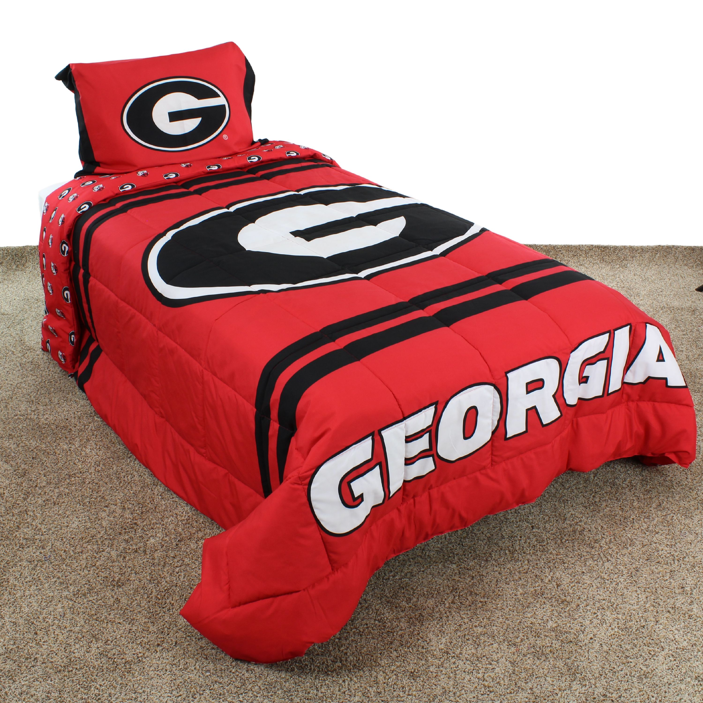 Georgia Bulldogs Reversible Reversible Comforter Set With Sham