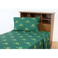 Oregon Ducks 100% cotton, 4 piece sheet set - flat sheet, fitted sheet, 2 pillow cases, Queen, Team Colors
