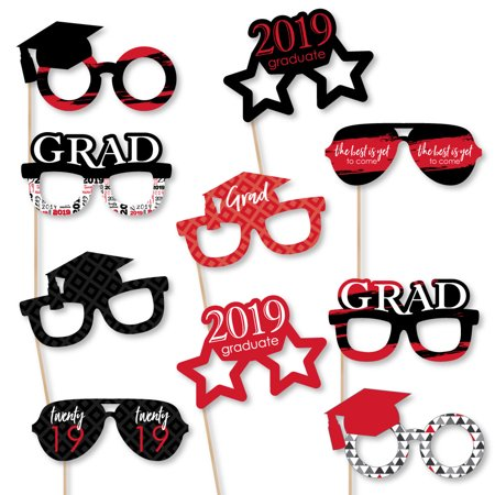 Red Grad - Best is Yet to Come - Glasses - Red 2019 Paper Card Stock Graduation Photo Booth Props Kit - 10