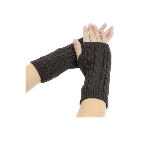 Knit Unisex Glove - 1606-D229 Unisex Thumbhole Fingerless Cable Knit Knitted Gloves F