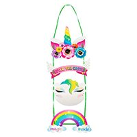 Unicorn Door Hanger 2Pack Welcome Sign for Princess Unicorn Themed Party Decoration, Easy DIY Assembly, Girls Birthday Party Supplies