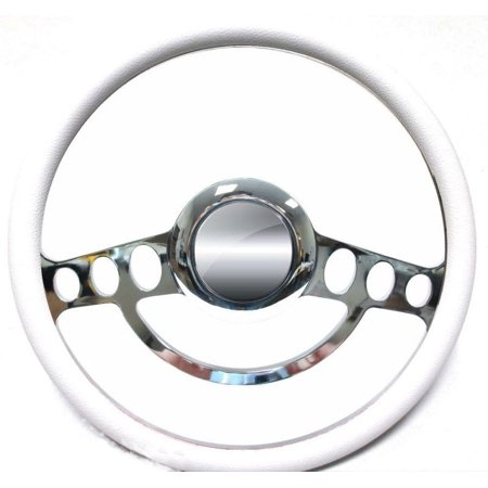 - Ford Hot Rod or Truck Chrome & White Steering Wheel fits Flaming River Column