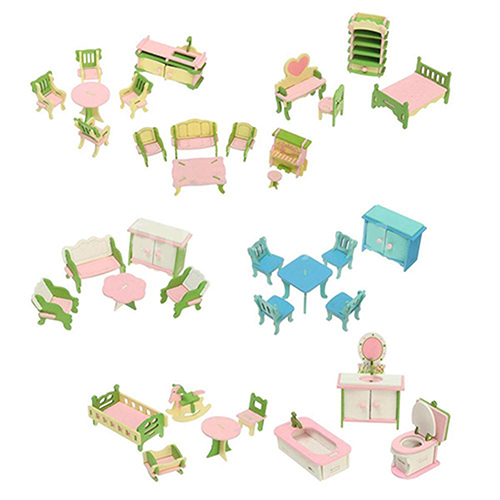 Heepo Wooden Miniature Doll House Furniture Room Set Toy Xmas Gift for Child Kids