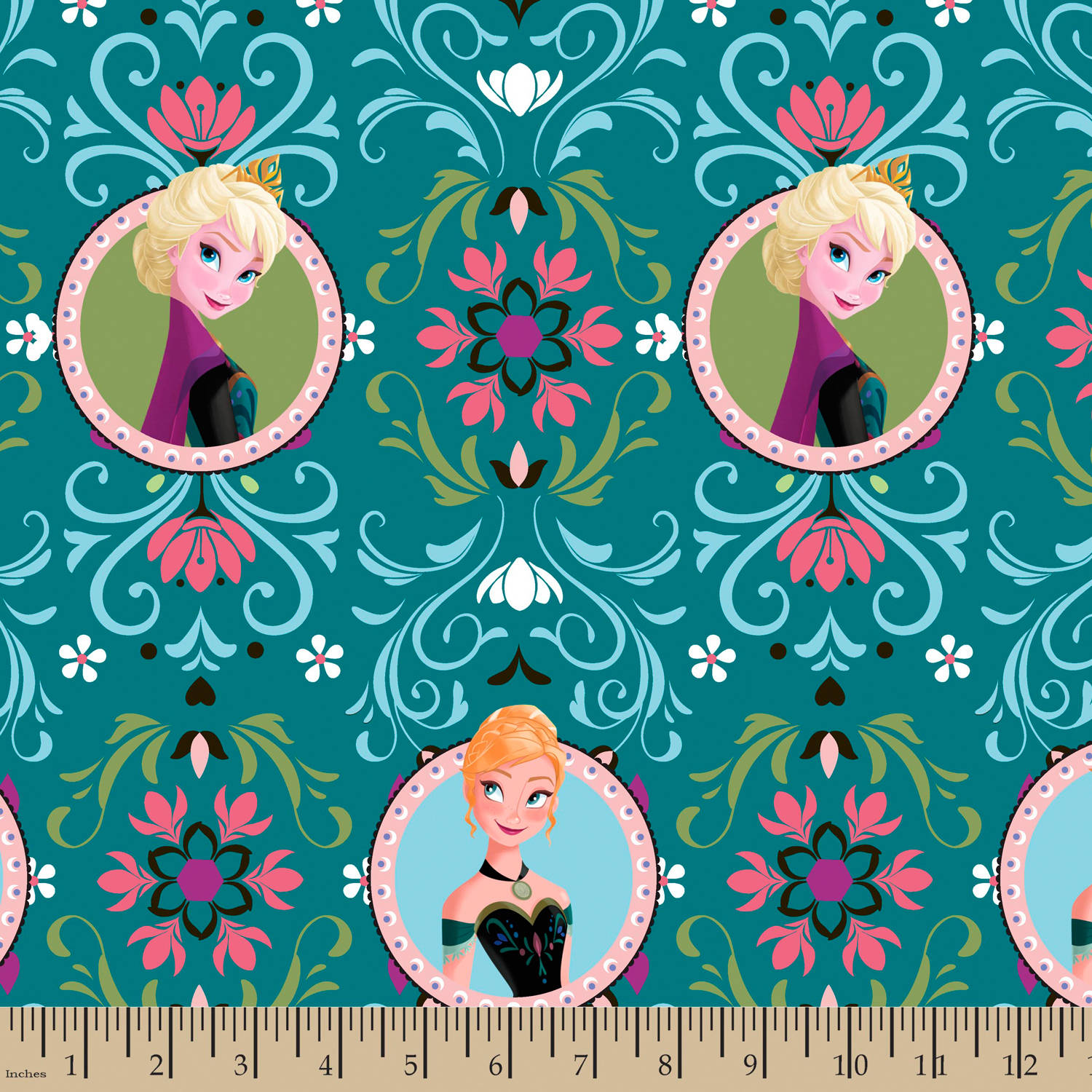 "Disney Frozen Anna & Elsa Framed, Fleece, Teal, 59/60"" Width, Fabric by the Yard"