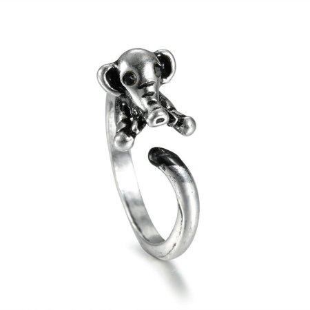 New Unique Animal Wrap Elephant Open Ring Womens Antique Beauty Fashion Jewelry (Silver) 4 Antique Silver Jewelry