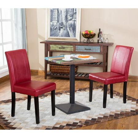 Roundhill Furniture Urban Parson Chair (Set of 2) (Red Parson Chair)