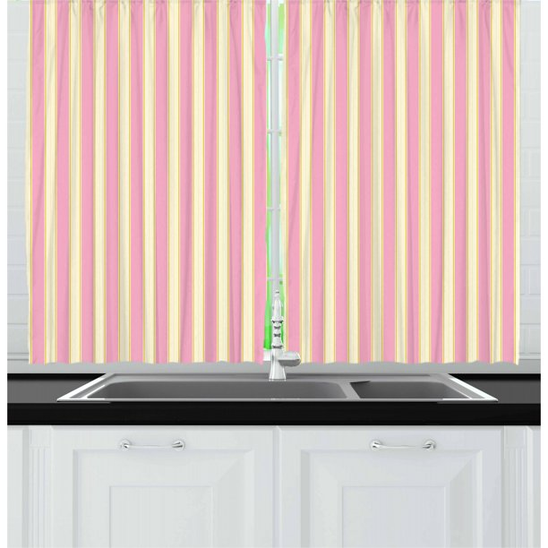 Pink And Yellow Curtains 2 Panels Set