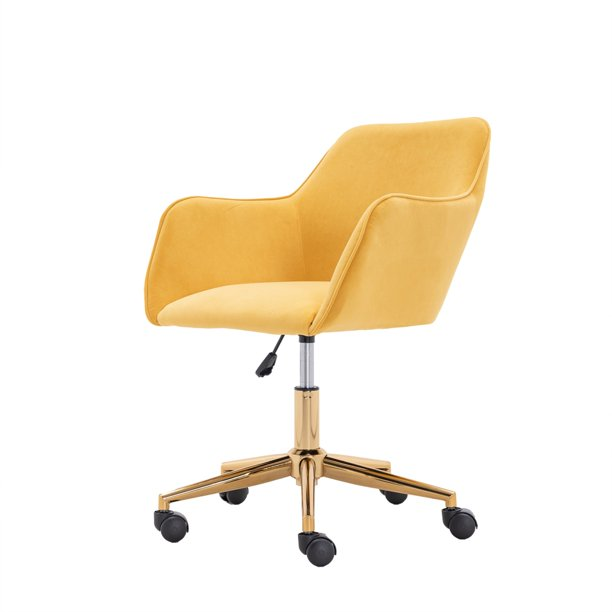 Desk Chair Modern Simple Mid-Back Velvet Upholstered Swivel Home Office Chair with Arms and Adjustable Height for Small Spaces Home Office Living Room Bedroom Yellow