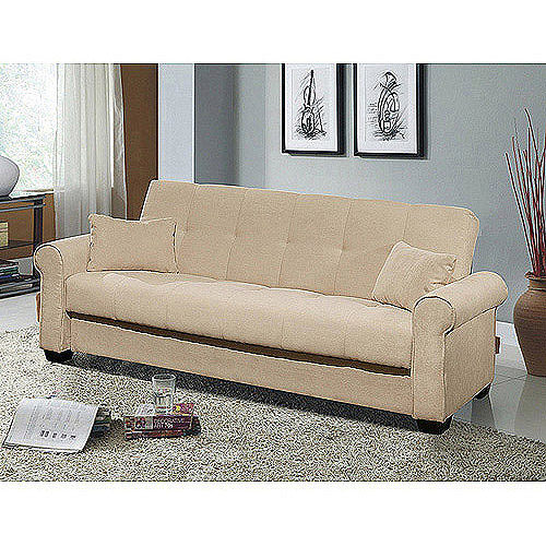 Beautiful Meridian Microfiber Convertible Sofa With Storage, Ivory