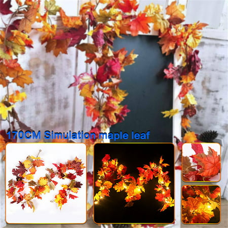Halloween Garland Printable (Christmas Decorations Fall Lighted Garland, 5.6 Feet LED Maple Leaf String Lights, Battery Powered, Perfect Decoration for Autumn Halloween Christmas Indoor Outdoor Birthday)