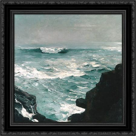 (Cannon Rock 20x20 Black Ornate Wood Framed Canvas Art by Homer, Winslow)