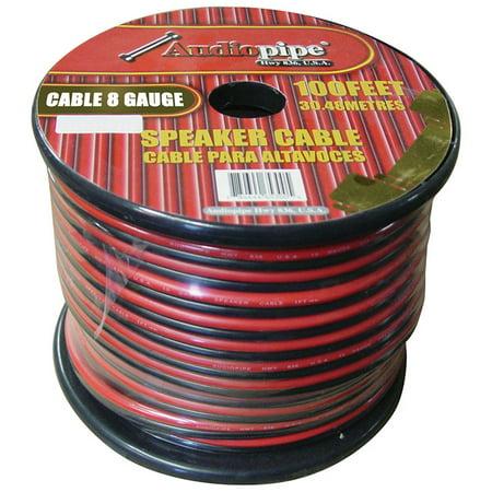 audiopipe cable8100blk 8 gauge speaker wire 100 39 red black. Black Bedroom Furniture Sets. Home Design Ideas