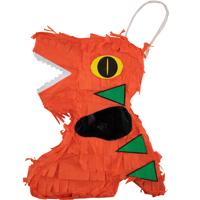 Extra Mini Orange Dinosaur Party Pinata Handmade in Mexico 6 in.