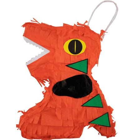 Extra Mini Orange Dinosaur Party Pinata, Handmade in Mexico, 4 Ct