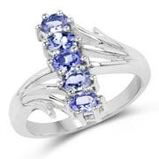 Malaika .925 Sterling Silver  7/8ct TGW Genuine Tanzanite Ring Size-7, Blue
