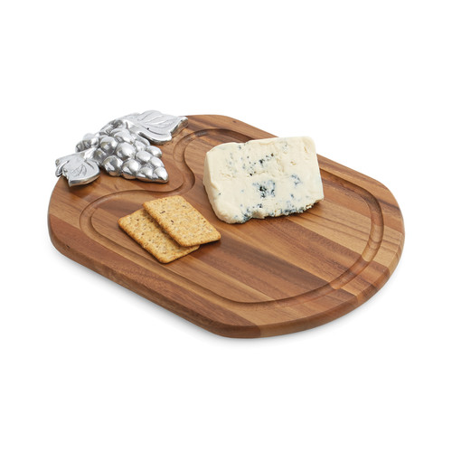 Woodard & Charles Elan Acacia Cheese Board w/ Metal Accent