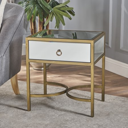 - Noble House Arturo Modern Side Table with Iron Accents, Clear, Gold