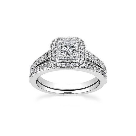 1ct Princess Cut Halo Diamond Engagement Wedding Ring Set 14K White