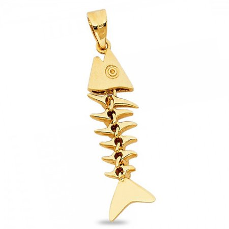 Fish Bone Dangle Pendant Solid 14k Yellow Gold Nautical Charm Genuine Quality 3D Design 27 x 8 mm ()