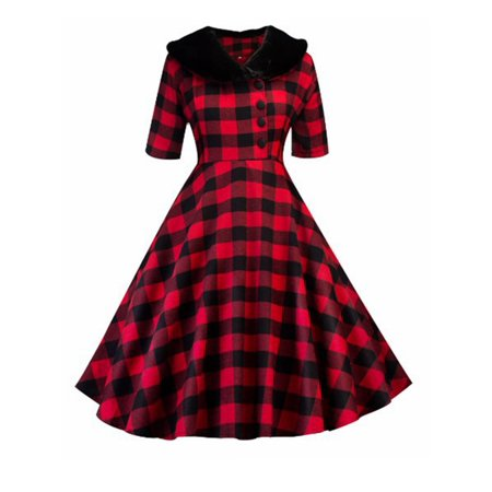 Women's Autumn Vintage 50s 60s Plaid Dress Retro Rockabilly Pinup Housewife Party Swing Dress Long Sleeve Fur collar (Fur Collar Dress)