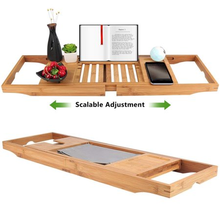 Adjustable Bamboo Bathtub Caddy Tray With Extending Sides, Reading ...