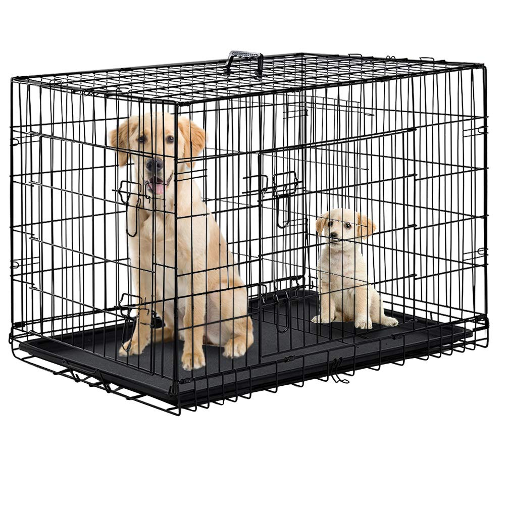 "Folding Black 48"" 2 Door Pet Dog Cage Kennel w/Divider Cat Cage Kennel w/Tray"