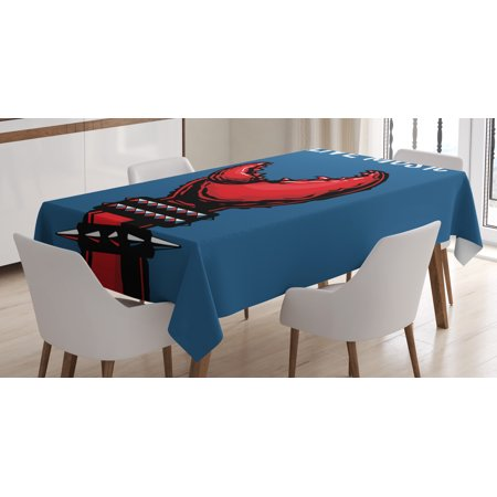 Indie Tablecloth, Crab Claw with Spiky Wristbands Heavy Metal Rock Live Music Theme Inscription Art, Rectangular Table Cover for Dining Room Kitchen, 52 X 70 Inches, Blue Red Black, by