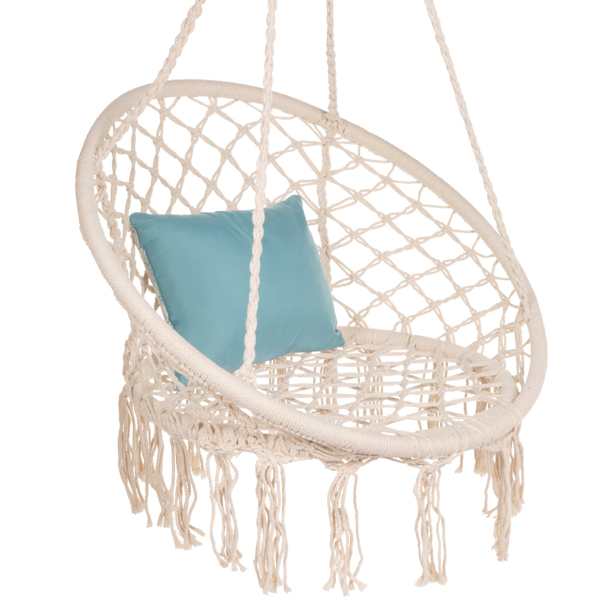 Best Choice Products Handwoven Cotton Macrame Hammock Hanging Chair Swing For Indoor Outdoor Use W Backrest Beige Walmart Com Walmart Com