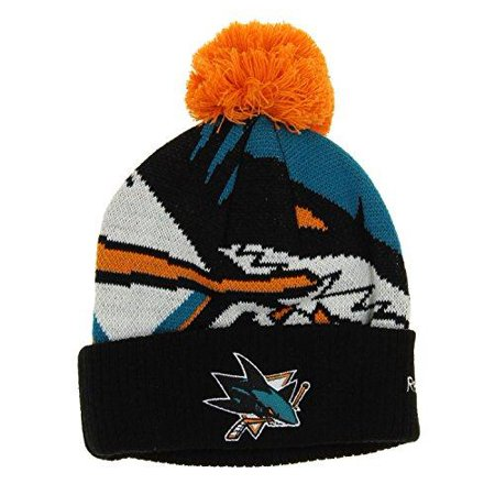 - Reebok NHL Youth San Jose Sharks Cuffed Pom Knit Hat, One size
