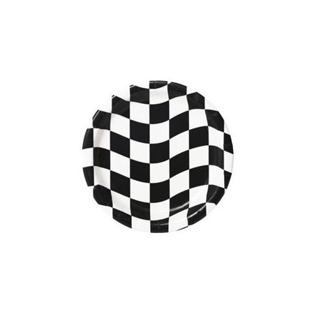Checkered Black and White Lunch Plates - 1 pack of 8 - Party Supplies ()