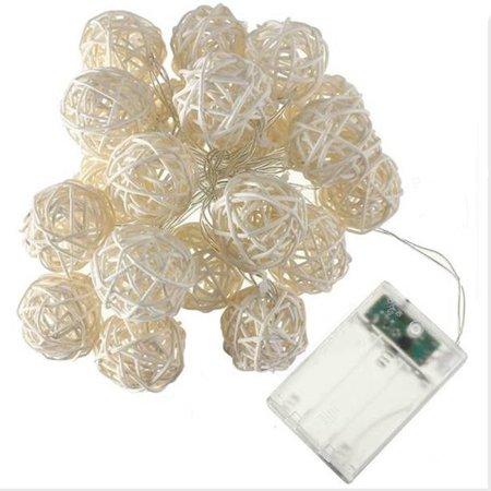 Jeobest Rattan Ball LED String Lights - LED Decorative String Lights - Rattan Ball String Lights - 20LED Globe Rattan Ball String Lights Rattan Balls LED String Lights for Wedding Party Home Decor MZ ()
