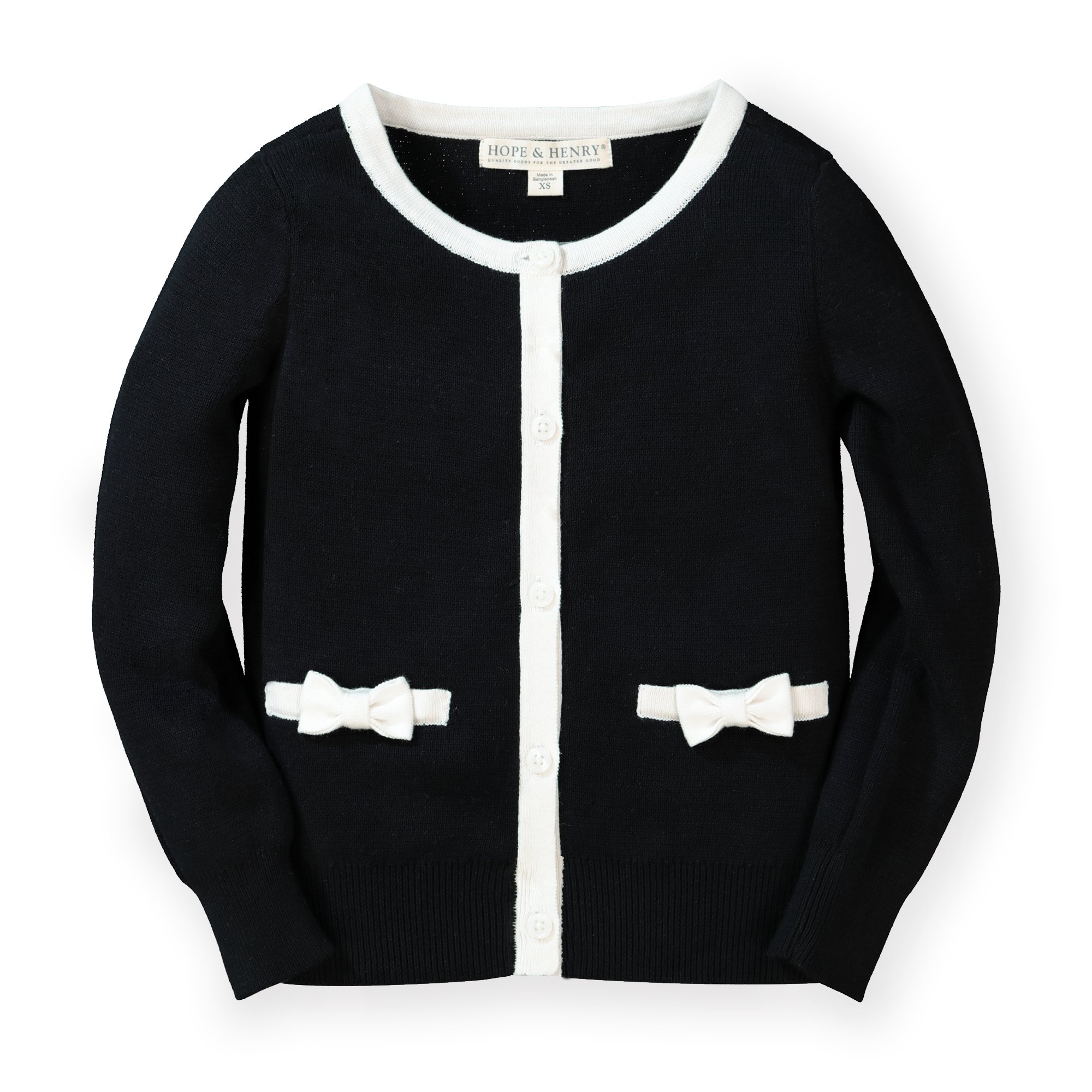 Hope /& Henry Girls Long Sleeve Cardigan with Front Bow Detail