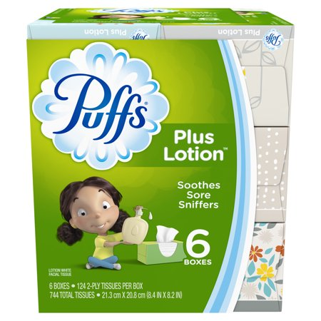 Puffs Plus Lotion Facial Tissues, 6 Family Boxes, 124 Tissues per