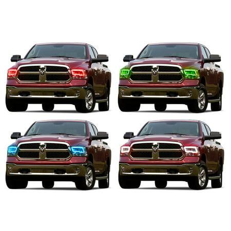 Flashtech LED RGB Multi Color Halo Ring Headlight Kit For Ram 1500 09-16 V.3 Fusion Color Change ()