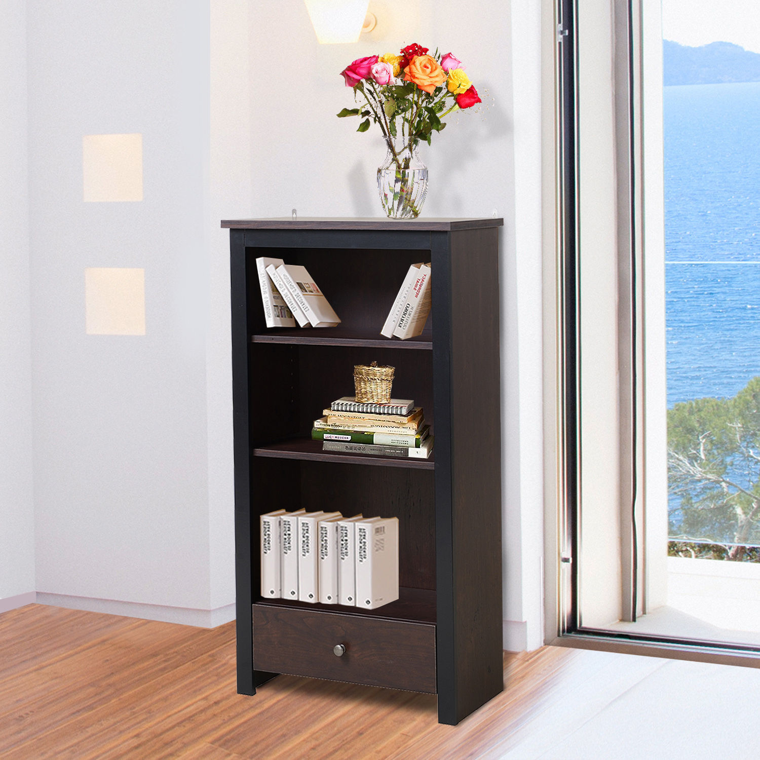 "GHP 22.6""x11.6""x42.3"" 3-Shelf Particle Board Bookshelf with Slide-Out Bottom Drawer"