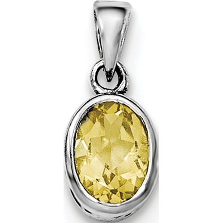Leslies Fine Jewelry Designer 925 Sterling Silver Rhodium-plated Polished Citrine Oval Pendant Gift