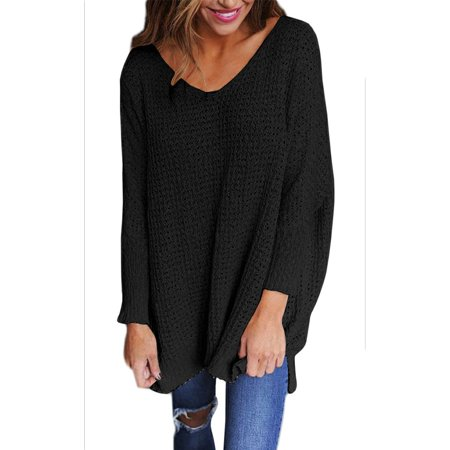 3e46cbcae9b06c DYMADE - DYMADE Women s Oversized Knitted Sweater Long Sleeve V-Neck Loose  Top Jumper Pullovers - Walmart.com