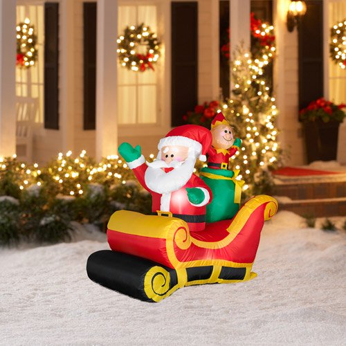 35 tall airblown christmas inflatable santa and elf in sleigh walmart com