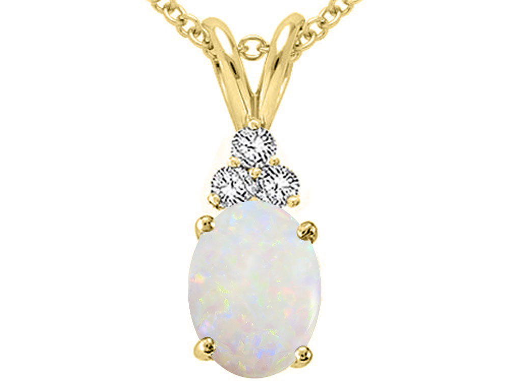 Tommaso Design Oval 8x6mm Genuine Opal Pendant Necklace by