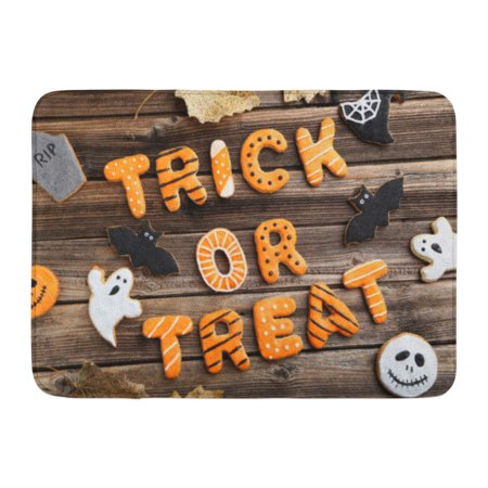 GODPOK Bat Black Autumn Fresh Halloween Gingerbread Cookies on Brown Wooden Table Orange Baked Biscuit Rug Doormat Bath Mat 23.6x15.7 inch - Halloween Biscuits