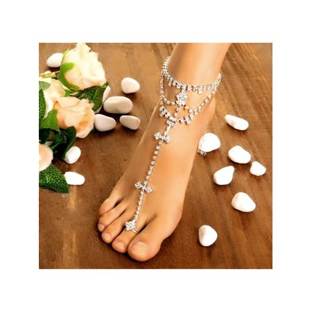Hot Fashion Women Foot Chain Rhinestone Barefoot Wedding Bride Anklets With Toe HFON ()
