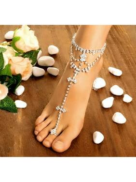 Hot Fashion Women Foot Chain Rhinestone Barefoot Wedding Bride Anklets With Toe HFON