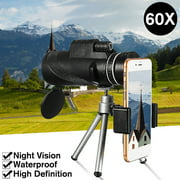 9500m 40X60 High Definition HD Monocular Telescope Day Night Vision + Phone clip + Tripod -BAK4 Prism For Outdoor Hunting Camping Hiking Sightseeing