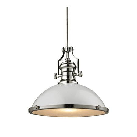 Pendants 1 Light With Gloss White with Polished Nickel Finish Medium Base 17 inch 100 Watts - World of