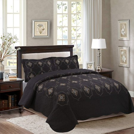 Marcielo 3 Piece Fully Quilted Embroidery Quilts