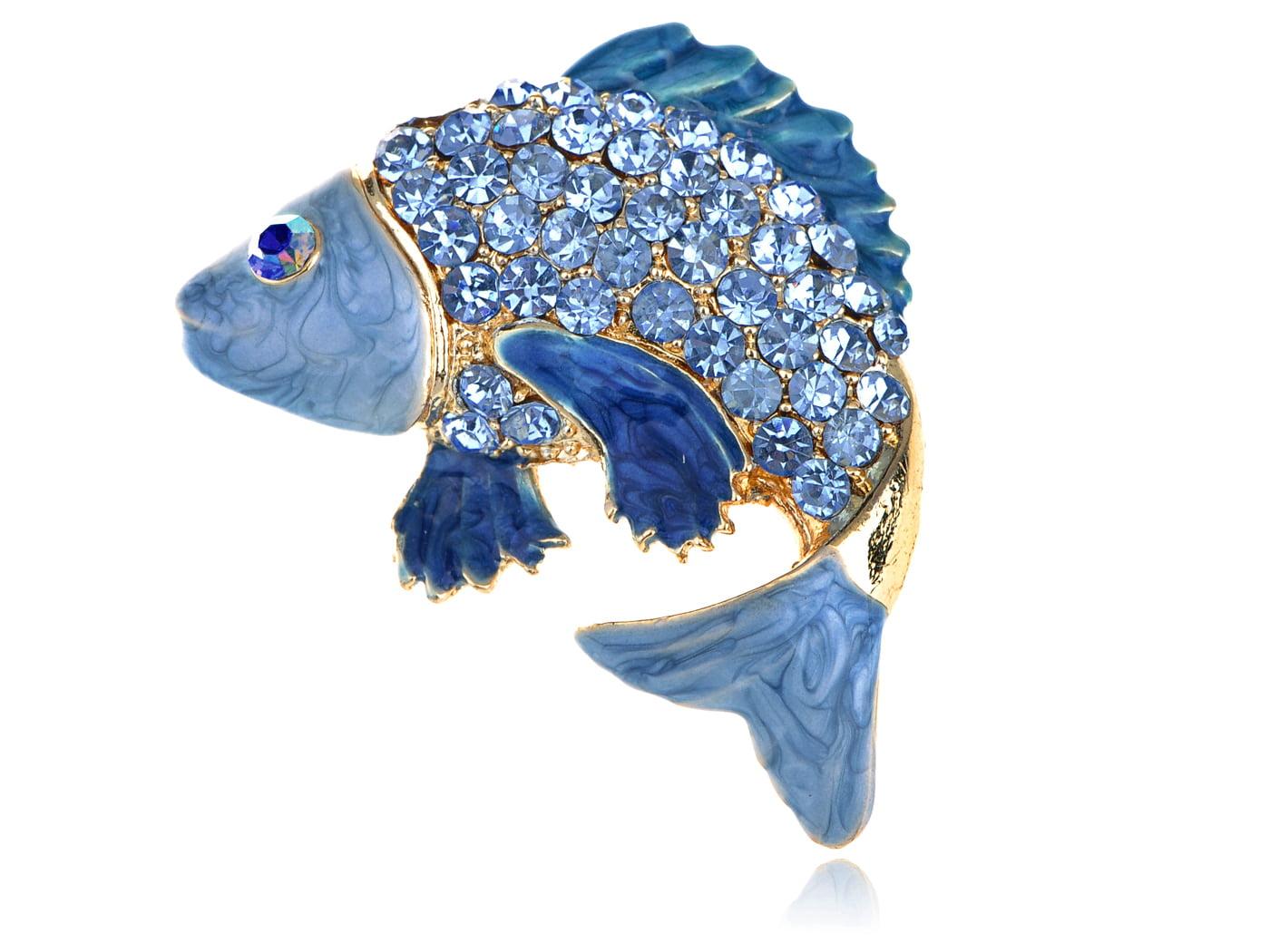 Sapphire Aqua Crystal Rhinestone Enamel Golden Carp Koi Fish Fashion Pin Brooch by